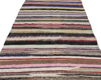 Hemp 5'9'' X 11'1'' Ft Kilim Rug -Turkish Area Rug -Bohemian Rug -Wool Carpet Rug - Hand Knotted Rug - Accent Rug -Turkish Home Decor