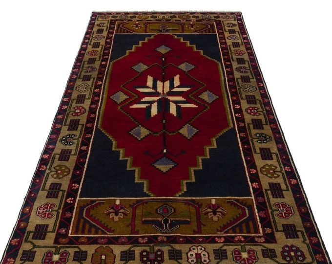 Vintage Turkish Area Rug 4.13X7.74 Ft, Area Rug, Vintage Rug, Kilim Rug, Boho Decor, Moroccan Rug, Turkish Rug, Persian Rug, Runner Rug