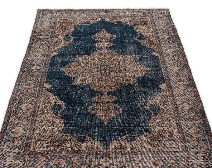 Vintage Area Rug 3.7X7.1 Ft, Beige, Navy Blue, Kilim Rug, Rugs, Boho Decor, Moroccan Rug, Vintage Rug, Turkish Rug, Persian Rug, Oushak Rug