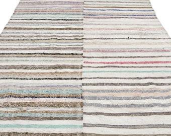 Hemp 6'3'' X 9'2'' Ft Kilim Rug -Turkish Area Rug -Bohemian Rug -Wool Carpet Rug - Hand Knotted Rug - Accent Rug -Turkish Home Decor