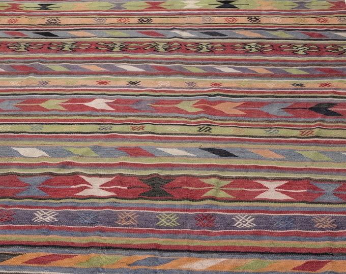 Hemp, Kilim Rug, 6.6X10.4 Ft, Area Rug, Kilim Rug, Rugs, Boho Decor, Moroccan Rug, Vintage Rug, Turkish Rug, Persian Rug, Oushak Rug, Runner