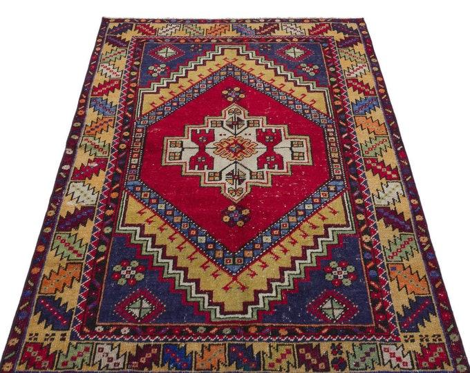 Vintage Turkish Area Rug 3.44x5.25 Ft, Area Rug, Vintage Rug, Kilim Rug, Boho Decor, Moroccan Rug, Turkish Rug, Persian Rug, Runner Rug