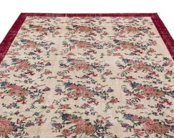 Vintage Kilim Rug Retro 6'8'' X 10'7'' Ft - Turkish Area Rug - Bohemian Rug - Wool Carpet Rug - Hand Knotted Rug - Accent Rug - Hall Rug