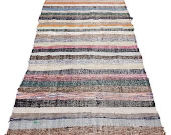 Hemp 3'7'' X 10'3'' Ft Kilim Rug -Turkish Area Rug -Bohemian Rug -Wool Carpet Rug - Hand Knotted Rug - Accent Rug -Turkish Home Decor
