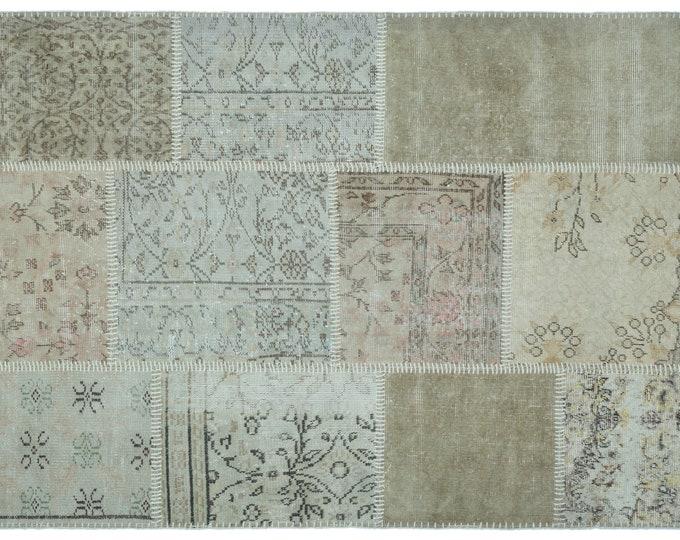 Beige 4'3''X5'11'' Ft Turkish Area Rug - Bohemian Rug - Wool Carpet Rug - Hand Knotted Rug - Accent Rug - Hall Rug - Turkish Home Decor