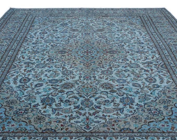 Blue Overdyed Persian Rug 9.8X13.3 Ft, Area Rug, Kilim Rug, Rugs, Boho Decor, Moroccan Rug, Vintage Rug, Turkish Rug, Persian Rug,Oushak Rug