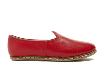 Felli Red Loafer - Womens Shoes - Leather Sandals - Wedding Shoes - Bridal Shoes - Gift For Men - Gift For Women - Bridesmaid Gift