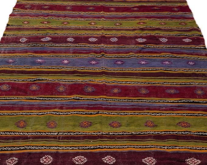 Hemp, Kilim Rug, 5.4X9.2 Ft, Area Rug, Kilim Rug, Rugs, Boho Decor, Moroccan Rug, Vintage Rug, Turkish Rug, Persian Rug, Oushak Rug, Runner