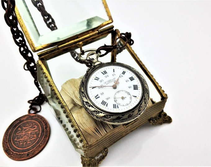 French G. Pilenetto 1910 Pocket Watch - Personalized Pocket Watch - Mechanical Pocket Watch - Steampunk Pocket Watch - Present - Steampunk