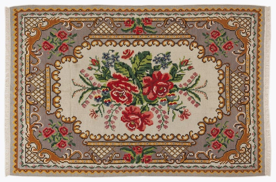 Kilim  Rug  Karabakh Large Size 5'8'' X 8'6'' Ft   kilim rug, moroccan rug, beni ourain, rag rug, tapis kilim, vintage