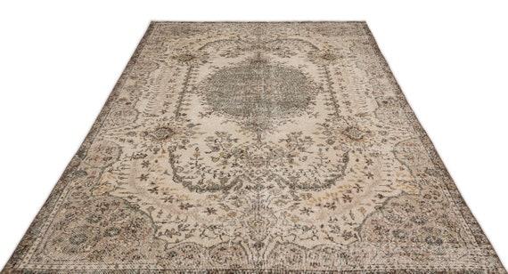 Natural 6'2'' X 10'3'' Ft Vintage Kilim Rug, turkish rug, area rug, moroccan rug, boucherouite rug, persian rug, berber rug, wool rug