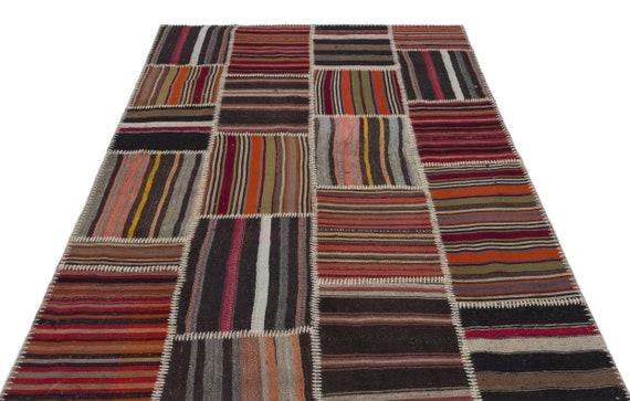 Natural 5'2'' X 8'9'' Ft Kilim Patchwork Unique Rug  turkish rug, area rug, moroccan rug, boucherouite rug, persian rug, berber rug