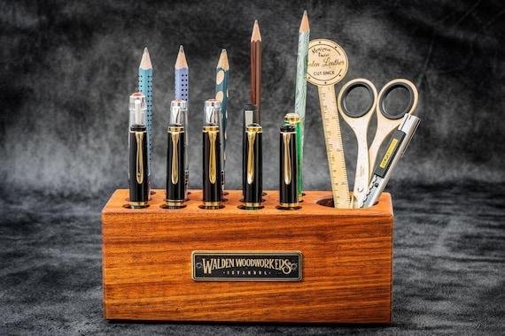 GL Wooden Desk Organizer Pen Holder Mahogany