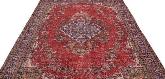 Natural 6'5'' X 10'9'' Ft Vintage Kilim Rug, Turkish Rug, Area Rug, Moroccan Rug, Boucherouite Rug, Persian Rug, Berber Rug, Wool Rug, Boho