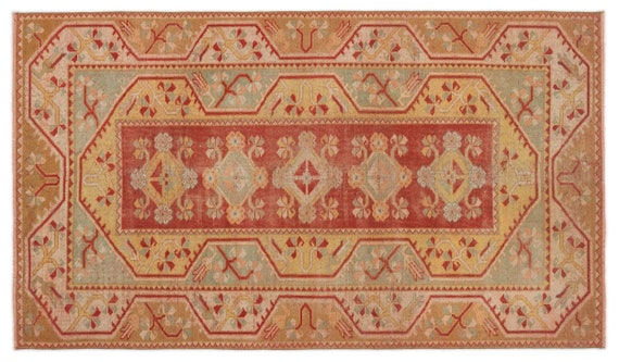 Vintage  Kilim Rug Retro Small Size 3'10'' X 6'6'' Ft   kilim rug, moroccan rug, beni ourain, rag rug, tapis kilim, vintage