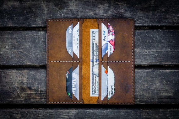 GL No.49 Crazy Horse Brown Personalized Handmade Unisex Long Wallet