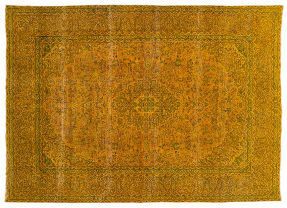 Yellow  9'7'' X 13'1'' Ft Persian Handwoven Kilim Rug