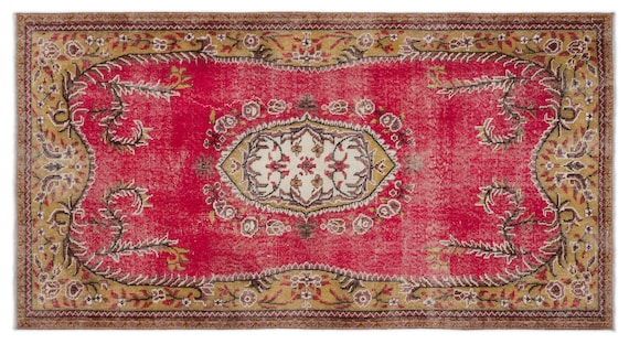 Vintage  Kilim Rug Retro Small Size 3'9'' X 6'11'' Ft   kilim rug, moroccan rug, beni ourain, rag rug, tapis kilim, vintage