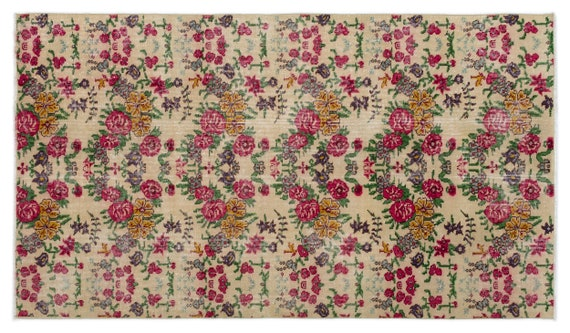 Vintage  Kilim Rug Retro Small Size 3'9'' X 6'6'' Ft   kilim rug, moroccan rug, beni ourain, rag rug, tapis kilim, vintage