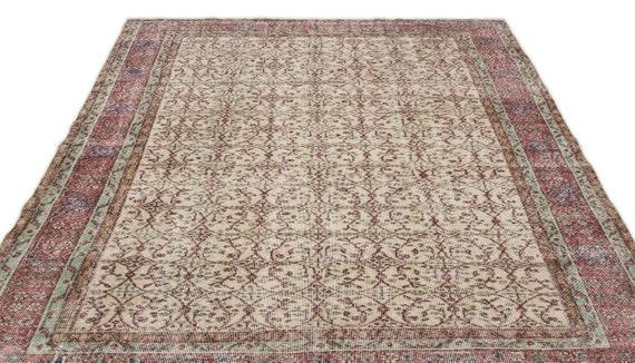 Natural 6'3'' X 9'5'' Ft Vintage Kilim Rug, Turkish Rug, Area Rug, Moroccan Rug, Boucherouite Rug, Persian Rug, Berber Rug, Wool Rug, Boho
