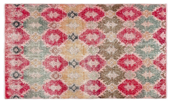 Vintage  Kilim Rug Retro Small Size 3'3'' X 5'9'' Ft   kilim rug, moroccan rug, beni ourain, rag rug, tapis kilim, vintage