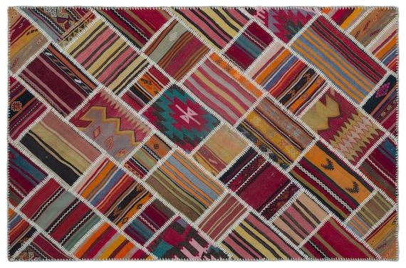 Naturel 5'2'' X 7'8'' Ft Kilim Patchwork Unique Rug
