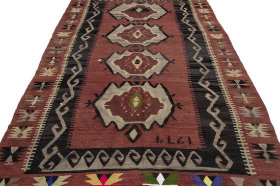 Geometric 5'12'' X 11'10'' Ft Kilim Rug, turkish rug, area rug, moroccan rug, boucherouite rug, persian rug, berber rug, wool rug