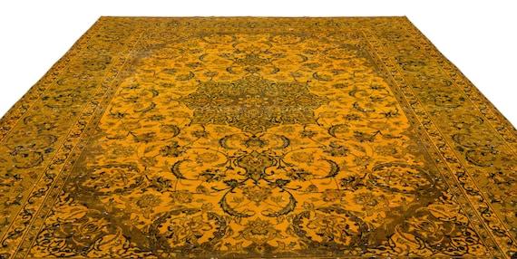 Yellow  9'7'' X 13'9'' Ft Persian Kilim Rug , turkish rug, area rug, moroccan rug, boucherouite rug, persian rug, berber rug, wool rug