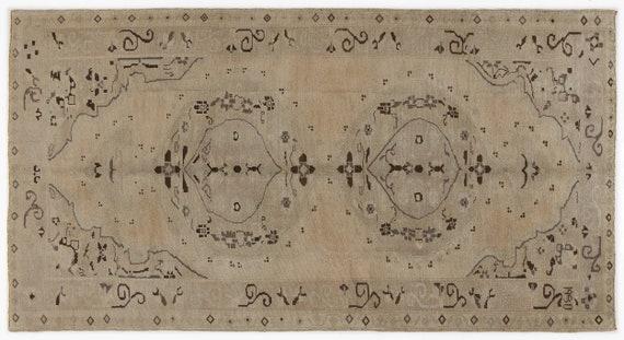 Heritage  Kilim Rug Beige Medium Size 5'2'' X 9'11'' FtTurkish Oushak Moroccan Rug