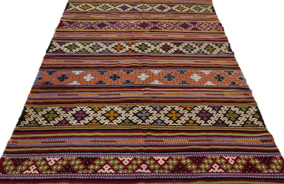 Striped 5'9'' X 10'8'' Ft Kilim Rug, turkish rug, area rug, moroccan rug, boucherouite rug, persian rug, berber rug, wool rug