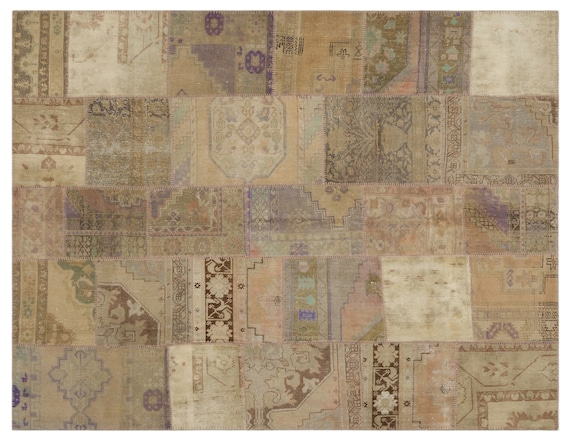 Anatolia 7'7'' X 9'9'' Ft Patchwork Unique Kilim Rug turkish rug, area rug, moroccan rug, boucherouite rug, persian rug, berber rug