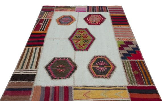 Natural 5'2'' X 7'9'' Ft Kilim Patchwork Unique Rug  turkish rug, area rug, moroccan rug, boucherouite rug, persian rug, berber rug