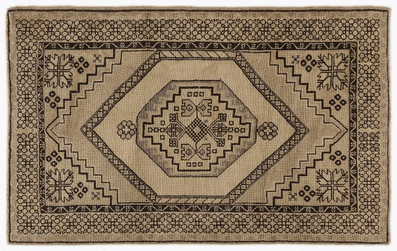Heritage  Kilim Rug Beige Small Size 3'10'' X 6'2'' FtTurkish Oushak Moroccan Rug