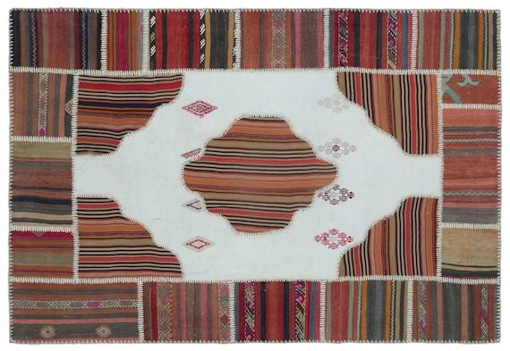 Naturel 5'2'' X 7'5'' Ft Kilim Patchwork Unique Rug
