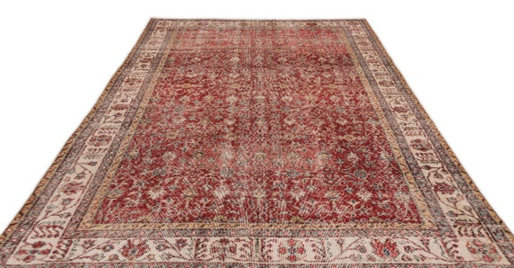 Natural 6'5'' X 10'6'' Ft Vintage Kilim Rug, turkish rug, area rug, moroccan rug, boucherouite rug, persian rug, berber rug, wool rug