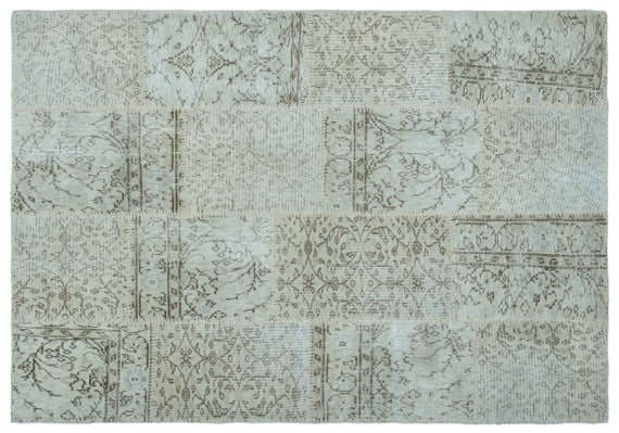 Patchwork Unique  Kilim Rug Beige Small Size 4'4'' X 6'3'' FtTurkish Oushak Moroccan Rug