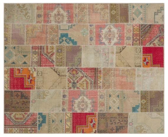 Anatolia 7'10'' X 9'9'' Ft Patchwork Unique Kilim Rug turkish rug, area rug, moroccan rug, boucherouite rug, persian rug, berber rug