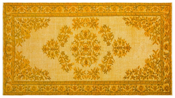 Carved  Kilim Rug Yellow Medium Size 5'1'' X 8'11'' FtTurkish Oushak Moroccan Rug