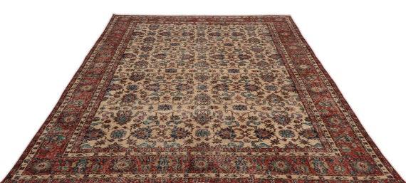 Natural 6'11'' X 10'0'' Ft Vintage Kilim Rug, turkish rug, area rug, moroccan rug, boucherouite rug, persian rug, berber rug, wool rug