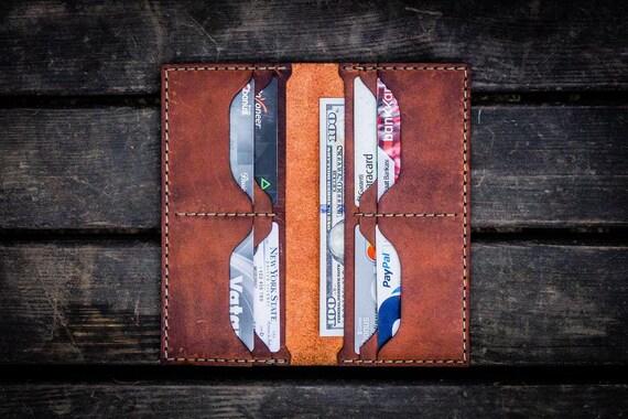GL No.49 Crazy Horse Orange Personalized Handmade Unisex Long Wallet