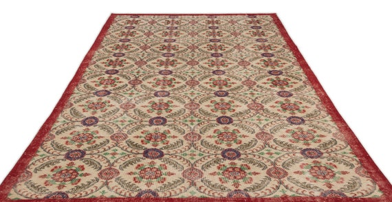 Retro 6'4'' X 10'3'' Ft Vintage Kilim Rug, turkish rug, area rug, moroccan rug, boucherouite rug, persian rug, berber rug, wool rug