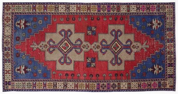 Vintage  Kilim Rug Naturel Small Size 4'4'' X 8'7'' FtTurkish Oushak Moroccan Rug