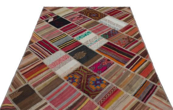 Natural 5'2'' X 7'8'' Ft Kilim Patchwork Unique Rug  turkish rug, area rug, moroccan rug, boucherouite rug, persian rug, berber rug