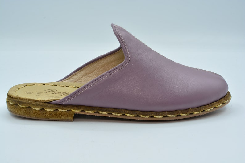 Unisex Purple Color Leather Handmade Slipper Leather Handmade Slipper Gift For Men Gift For Women