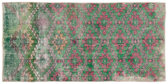 Vintage  Kilim Rug Retro Small Size 3'4'' X 6'10'' Ft   kilim rug, moroccan rug, beni ourain, rag rug, tapis kilim, vintage