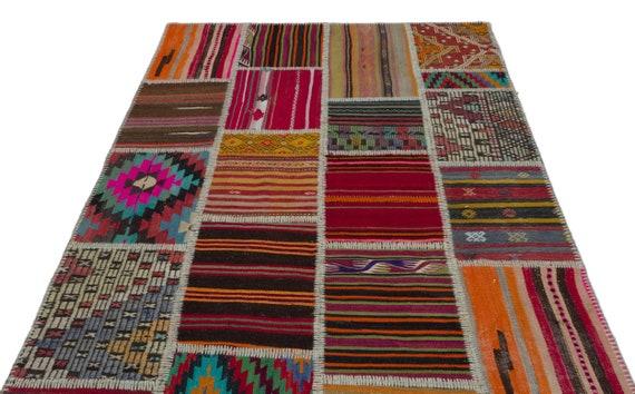 Natural 5'3'' X 7'7'' Ft Kilim Patchwork Unique Rug  turkish rug, area rug, moroccan rug, boucherouite rug, persian rug, berber rug