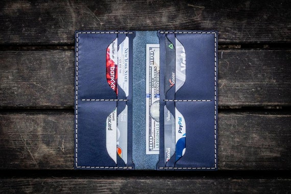 GL No.49 Navy Blue Personalized Handmade Unisex Long Wallet