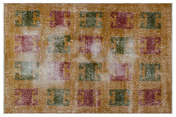 Vintage  Kilim Rug Retro Small Size 3'5'' X 5'2'' Ft   kilim rug, moroccan rug, beni ourain, rag rug, tapis kilim, vintage