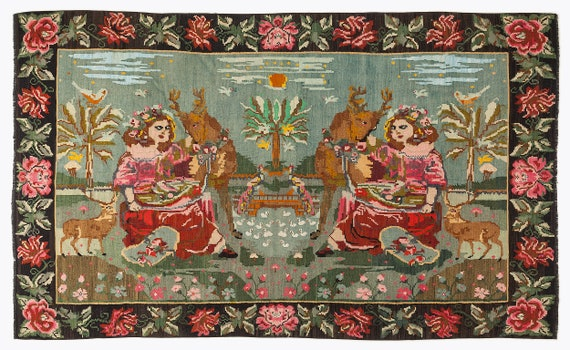 Kilim  Rug  Karabakh Large Size 6'3'' X 10'0'' Ft   kilim rug, moroccan rug, beni ourain, rag rug, tapis kilim, vintage