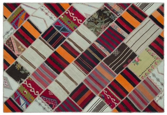 Kilim Patchwork Unique  Rug  Naturel Medium Size 5'3'' X 7'9'' FtTurkish Oushak Moroccan Rug